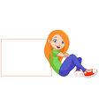 girl with sign vector image