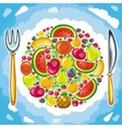 Planet of fruits vector image