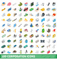 100 corporation icons set isometric 3d style vector image
