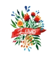 Watercolor flower card Beautiful Floral Greeting vector image