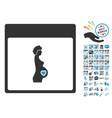Pregnant Woman Calendar Page Flat Icon With vector image