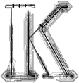 Technical typography Letter K vector image vector image