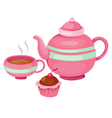 isolated tea pot set vector image