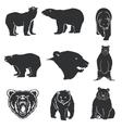 Retro bear mascot for emblems logos icons vector image