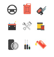 Car parts set Car service icon set Car parts shop vector image