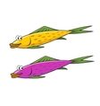 Cartoon yellow and violet fish characters vector image