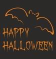 Happy Halloween dark party card with orange bat vector image