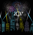 Happy new year 2017 written with firework and city vector image