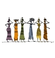Sketch of ethnic women with jugs for your design vector image vector image