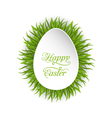 Happy Easter paper card in form egg with green vector image