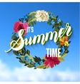 Summer Time Lettering Background with floral vector image vector image
