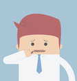 Businessman zipped his mouth Inarticulate concept vector image