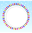 Festive blue background frame of colored lights vector image