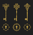 golden glitter vintage keys and keyholes set vector image
