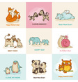 Happy Mothers Day Cards - with cute animals vector image