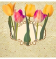 Vintage tulips postcard with flowers EPS 10 vector image