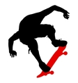 Silhouettes a skateboarder performs jumping vector image