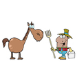 African American Farmer With Horse vector image vector image