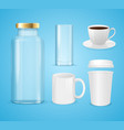 realistic cup can and bottle set for liquid vector image