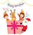 Santa Reindeer Girl And Boy With Gift Box vector image