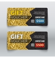 Gift voucher certificate Design with Gold Glitter vector image