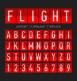 airport flipboard flat style font mechanical vector image