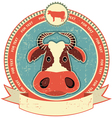 cow head label vector image