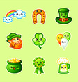 Cute St Patricks Day icons vector image