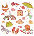 Hand drawn retro icons summer beach set vector image