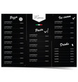 menu design for pizza and pasta on black vector image