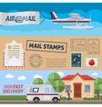 Post Service Horizontal Banners Set vector image