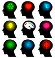 set of head icons with idea symbols vector image