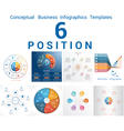 Set Templates Infographics positions 6 vector image