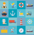 ship port icon set vector image