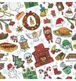 Christmas season doodle symbols seamless pattern vector image