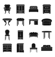 Furniture and home interior set icons in black vector image