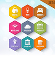 Trendy Rounded Hexagon Icons Set 4 vector image vector image