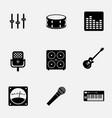 flat monochrome music gear icon set pattern ready vector image