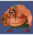 cartoon angry fat man with a pumpkin under his arm vector image