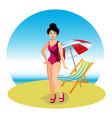 beautiful brunette woman on beach vector image