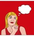Blonde girl dreaming pop art vector image