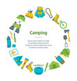 cartoon traveling camping and hiking banner card vector image