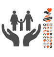 family care hands icon with valentine bonus vector image