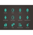 Set of smart watch with smart interface icons set vector image