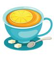 tea cup with lemon vector image