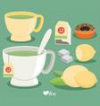 Flat tea set cup of tea lemon sugar leaf vector image