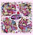 colorful wedding doodle cartoon set of vector image