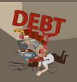 businessman with debt debt concept cartoon vector image vector image