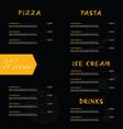 menu design on black background vector image