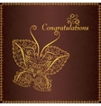 Congratulation vintage card with butterfly vector image